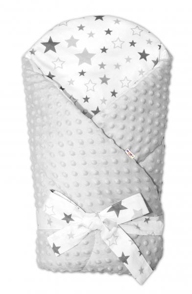 Zavinovačka Minky Baby Nellys Hvězdy a hvězdičky - šedé na bílém, šedá