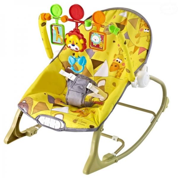 Euro Baby Lehátko,houpačka pro kojence s vibrací a hudbou - Little Savana - žluté, K19