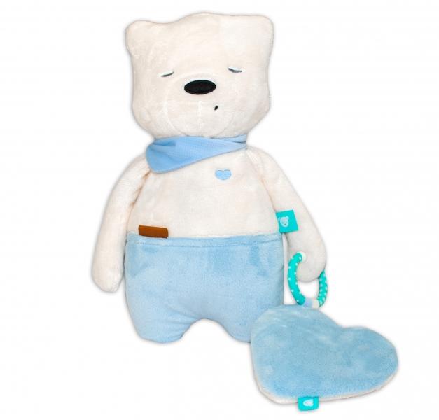 Szumisie Šumící mazlíček Medvídek Sam, 34 cm + plyšové srdíčko gratis - modrý/béžová