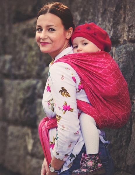 LITTLE FROG Žakárový tkaný šátek na nošení dětí - Red Hourglasses, vel. XL