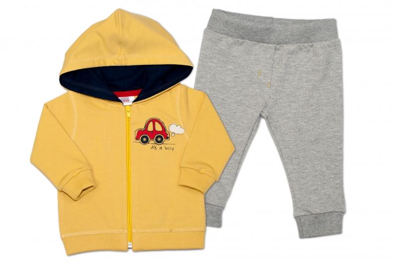 Tepláková souprava s kapucí K-Baby It´s a boy - žlutá/šedá