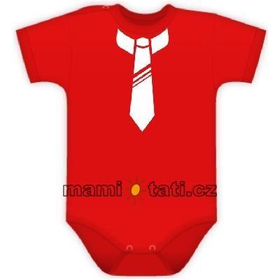 Baby Dejna Body kr. rukávek s potiskem kravaty - červené