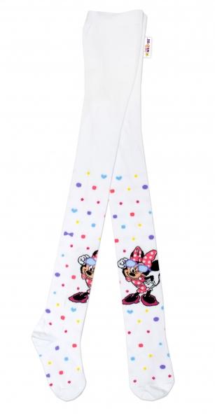 Bavlněné punčocháče Disney Minnie s brýlemi - bílé,  vel. 92/98