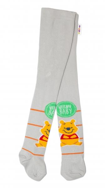Bavlněné punčocháče Disney Medvídek Pú Baby - šedé,  vel.  62/74
