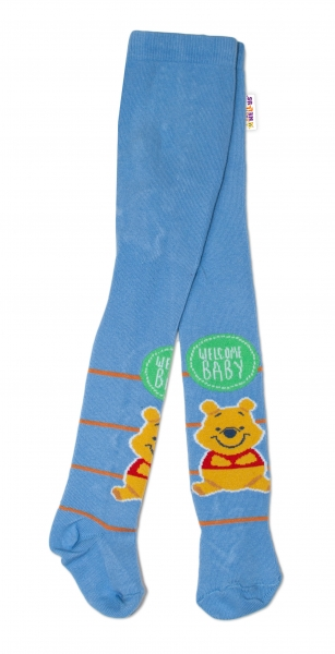 Bavlněné punčocháče Disney Medvídek Pú Baby - modré,  vel.  62/74