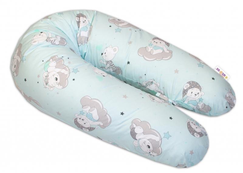 Bavlněný kojící polštář - relaxační poduška Baby Nellys, Mráček - mátový