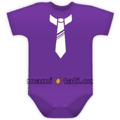 Body kr. rukávek s potiskem kravaty - fialové, Velikost: 74 (6-9m)