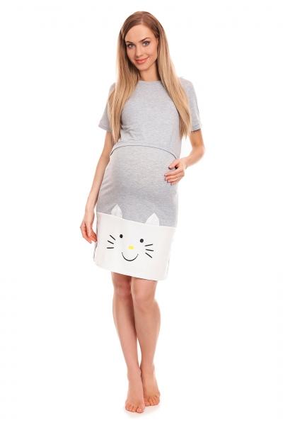 Be MaaMaa Těhotenská, kojící noční košile s motivem kočky, kr. rukáv -  šedá, vel. L/XL, Velikost: L/XL