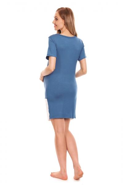 Be MaaMaa Těhotenská, kojící noční košile s motivem kočky, kr. rukáv -  modrá