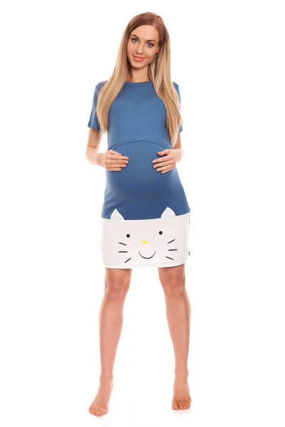 Be MaaMaa Těhotenská, kojící noční košile s motivem kočky, kr. rukáv -  modrá, vel. L/XL