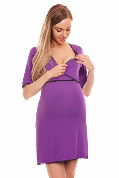 Be MaaMaa Těhotenská, kojící noční košile s krajkovým lemováním, kr. rukáv - fialová