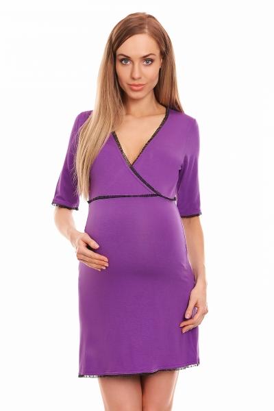 Be MaaMaa Těhotenská, kojící noční košile s krajkovým lemováním, kr. rukáv - fialová, L/XL