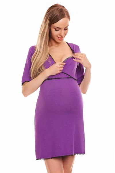 Be MaaMaa Těhotenská, kojící noční košile s krajkovým lemováním, kr. rukáv - červená L/XL