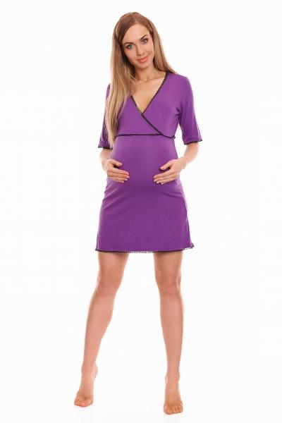 Be MaaMaa Těhotenská, kojící noční košile s krajkovým lemováním, kr. rukáv - fialová, XXL