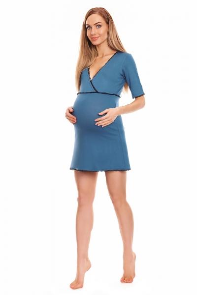 Be MaaMaa Těhotenská, kojící noční košile s krajkovým lemováním, kr. rukáv - modrá