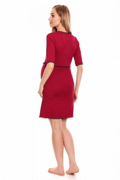 Be MaaMaa Těhotenská, kojící noční košile s krajkovým lemováním, kr. rukáv - červená, L/XL