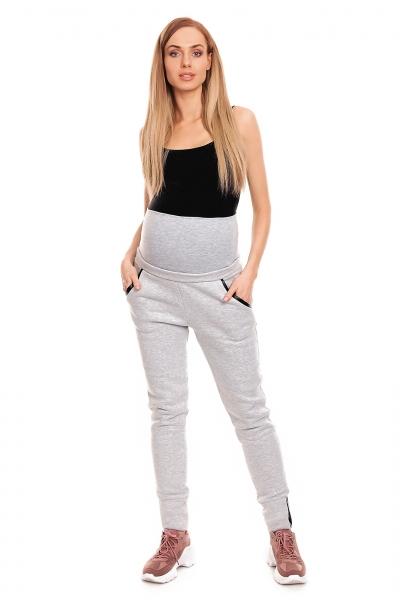 Be MaaMaa Těhotenské tepláky s pružným pásem -  šedé, vel. L/XL