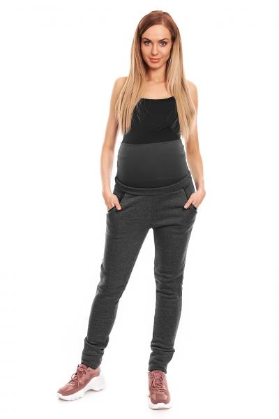 Be MaaMaa Těhotenské tepláky s pružným pásem - grafitové