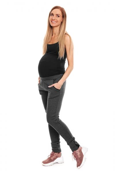 Be MaaMaa Těhotenské tepláky s pružným pásem - grafitové, vel. L/XL
