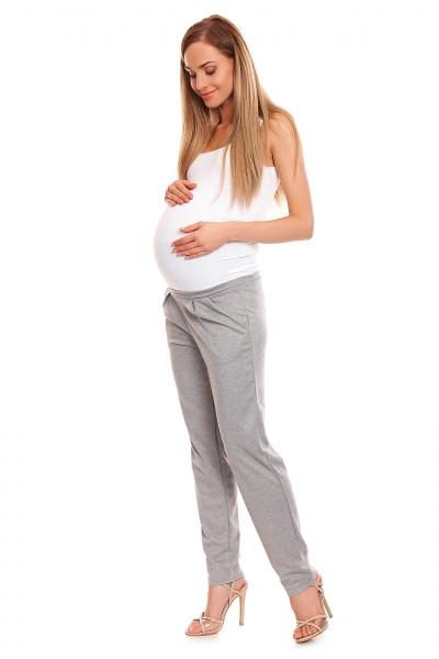 Be MaaMaa Těhotenské kalhoty s pružným, vysokým pásem - šedé, vel. L/XL