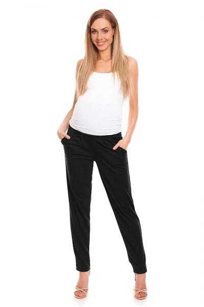Be MaaMaa Těhotenské kalhoty s pružným, vysokým pásem - černé