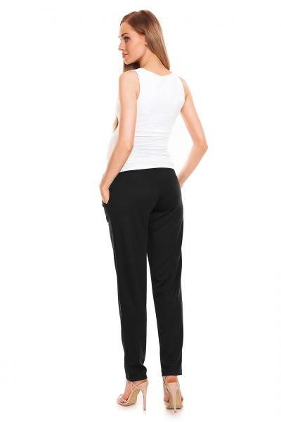Be MaaMaa Těhotenské kalhoty s pružným, vysokým pásem - černé, vel. L/XL