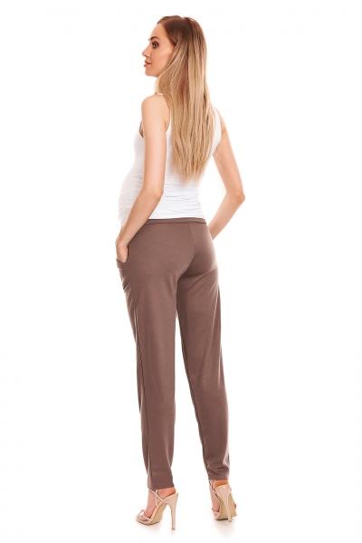 Be MaaMaa Těhotenské kalhoty s pružným, vysokým pásem - cappuccino