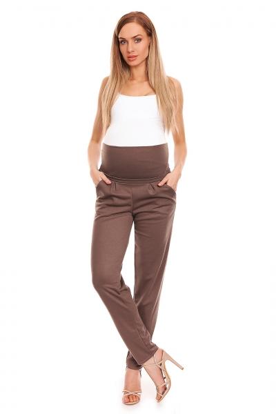 Be MaaMaa Těhotenské kalhoty s pružným, vysokým pásem - cappuccino, vel. L/XL