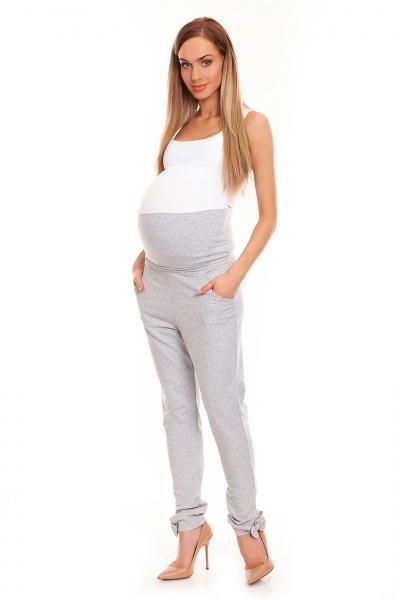 Be MaaMaa Těhotenské, bavlněné kalhoty/tepláky s pružným pásem - šedé
