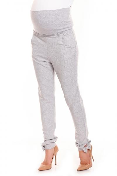 Be MaaMaa Těhotenské, bavlněné kalhoty/tepláky s pružným pásem - šedé, vel. L/XL