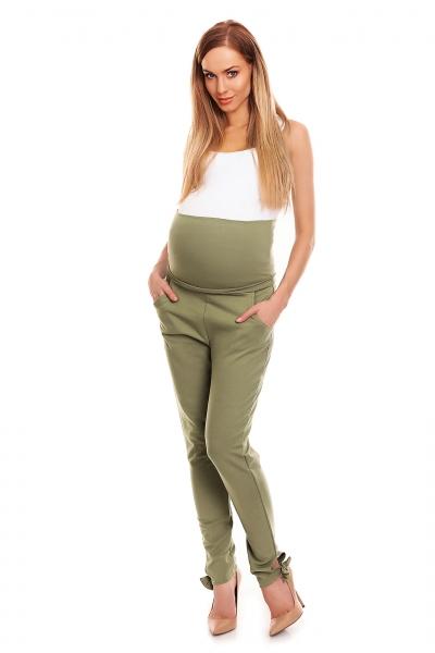 Be MaaMaa Těhotenské, bavlněné kalhoty/tepláky s pružným pásem - khaki