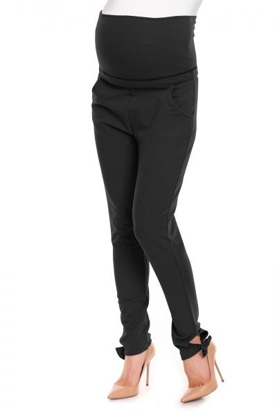 Be MaaMaa Těhotenské, bavlněné kalhoty/tepláky s pružným pásem - černé