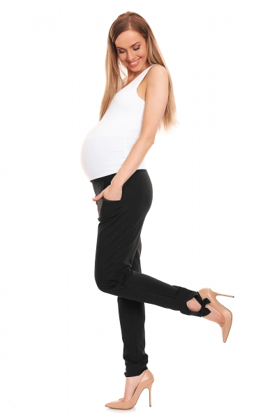 Be MaaMaa Těhotenské, bavlněné kalhoty/tepláky s pružným pásem - černé, vel. L/XL