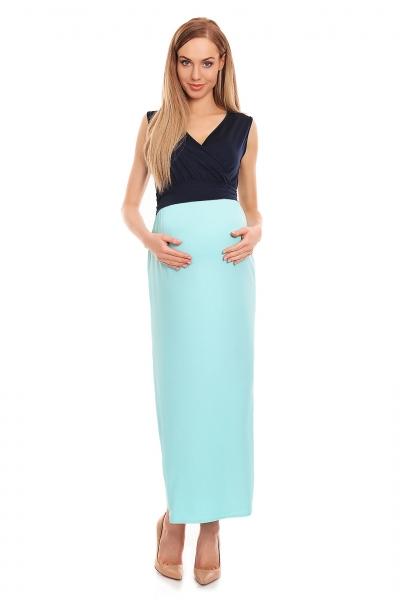 Be MaaMaa Těhotenské letní šaty - granát/modré, vel. L/XL