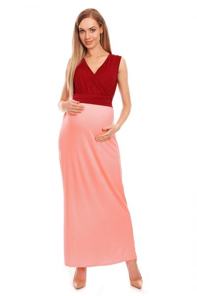 Be MaaMaa Těhotenské letní šaty - bordo/růžové, vel. L/XL