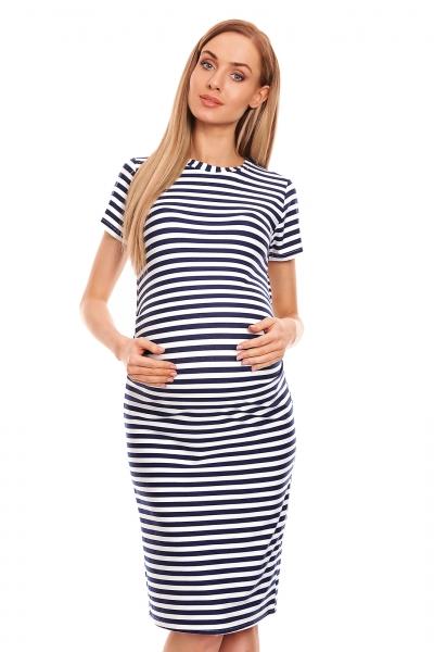 Be MaaMaa Těhotenské letní šaty - granátový proužek, vel. L/XL, Velikost: L/XL