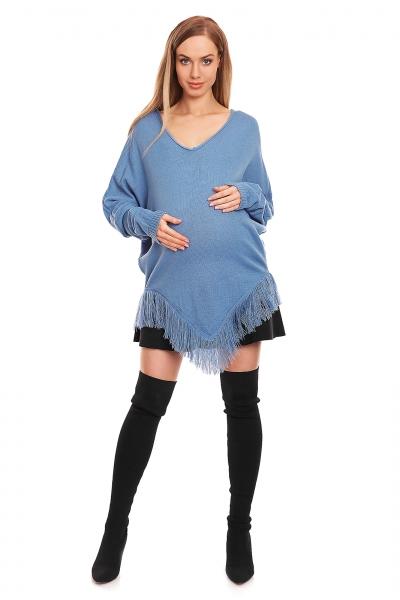 Be MaaMaa Těhotenské pončo dlouhý rukáv - modré