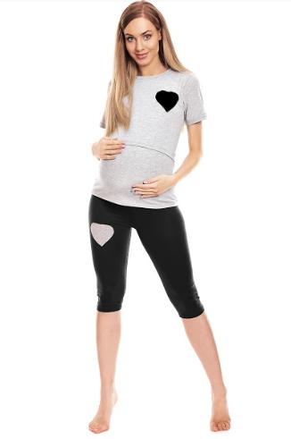 Be MaaMaa Těhotenské, kojící pyžamo 3/4 srdce - šedé, vel. L/XL