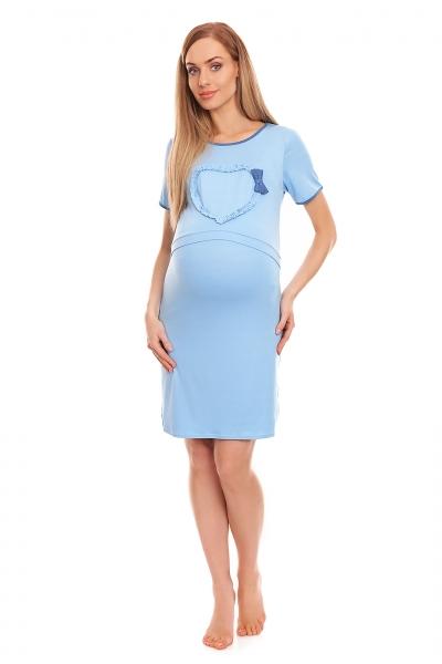 Be MaaMaa Těhotenská, kojící noční košile s lemovaným srdcem, kr. rukáv - modrá, L/XL