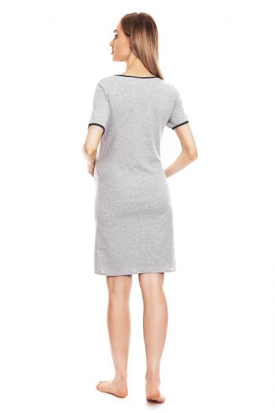 Be MaaMaa Těhotenská, kojící noční košile s lemovaným srdcem, kr. rukáv - šedá, L/XL