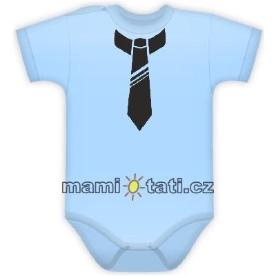 Body kr. rukávek s potiskem kravaty - sv. modré, Velikost: 80