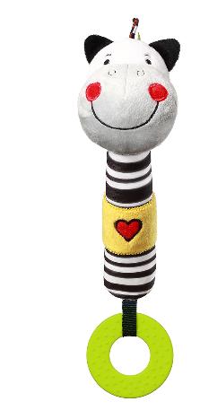 BabyOno Plyšová pískací hračka s kousátkem Zebra Zack, 26 cm