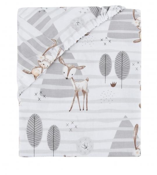 Dětské bavlněné prostěradlo do postýlky Baby Nellys - Zvírátka v lese - šedé, 140x70
