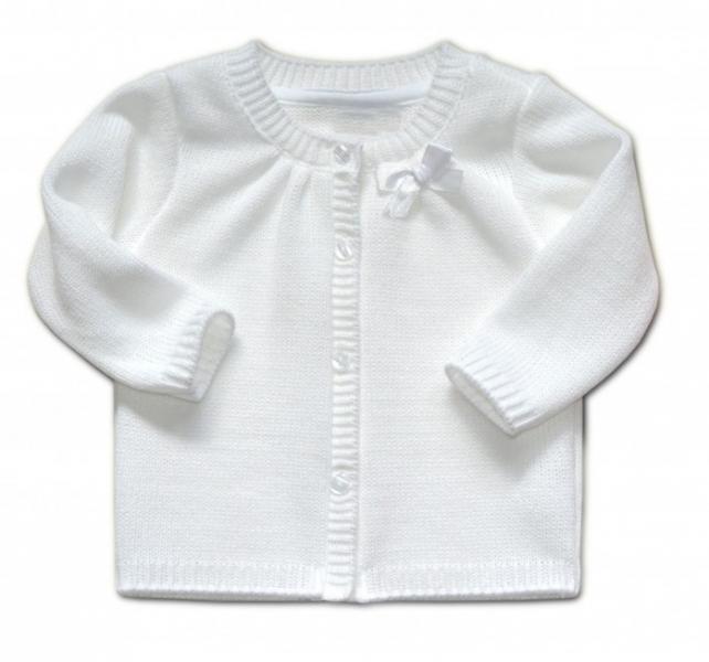 Kojenecký svetřík K-Baby s mašličkou - bílý, vel. 80