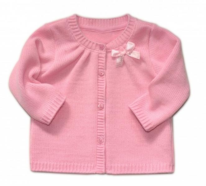 Kojenecký svetřík K-Baby s mašličkou - růžový, vel. 68