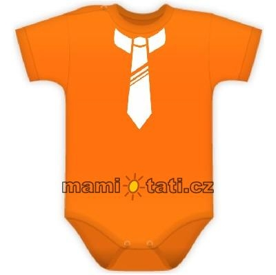DEJNA Body kr. rukávek s potiskem kravaty - pomeranč