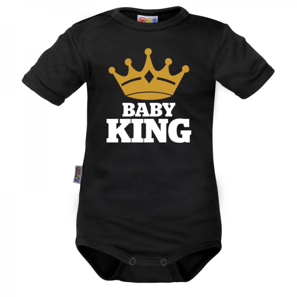 Body krátký rukáv Dejna Baby King - černé, vel. 68