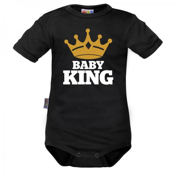Body krátký rukáv Dejna Baby King - černé, vel. 80, Velikost: 80 (9-12m)