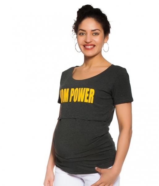 Be MaaMaa Těhotenské/kojicí triko Mom power - grafitové, vel. S, Velikost: S (36)
