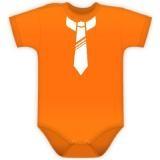 Baby Dejna Body kr. rukávek s potiskem kravaty - pomeranč